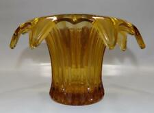 LARGE SOWERBY ART DECO 'IRIS' AMBER GLASS VASE # 2505 WITH FLOWER FROG