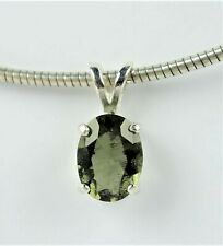 FACETED OVAL MOLDAVITE PENDANT +CERTIFICATE - Sterling Silver - Spiritual Growth