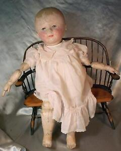 """Large 24"""" Antique Martha Chase Stockinet Baby All Original Surface No Repaint!!"""