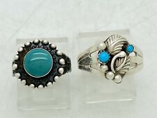 2 Navajo Sterling Silver Turquoise Rings Stamped & Tooled Vintage Native America