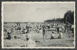 Colonial Beach VA: c.1940 Postcard BATHING BEACH, Pier, Swimmers, Patomac River