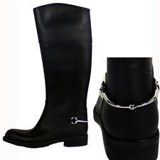 Sz 40 NEW $595 GUCCI Black Rubber Wellies HORSEBIT Knee Spring RAIN BOOTS NIB 10