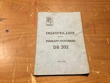 ZUNDAPP DB202 1952 ERSATZTEIL / PARTS LIST [3-75]