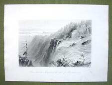 CANADA Montmorency Falls Summit - 1841 Engraving Print by BARTLETT