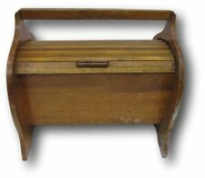Wood Sewing Box Roll Top Cover Handle Wooden w/ Spool Rack Organizer Vintage