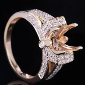 DIAMOND ENGAGEMNT SEMI MOUNT RING SETTING SQUARE 6.5MM SOLID 14K YELLOW GOLD