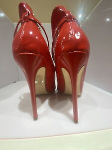 Red Pvc Peep toes ankle strap high backed Killer Heels Very Fetish size 4