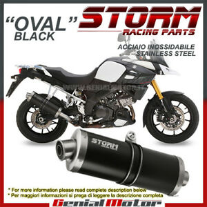 Exhaust Storm by Mivv Muffler Oval Nero Steel Suzuki Dl V-strom 1000 2014 > 2016