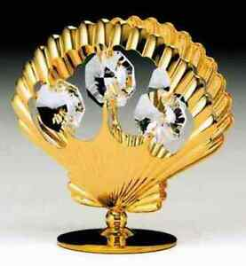 Sea Shell FIGURINE - FREE STANDING 24K GOLD WITH AUSTRIAN CRYSTALS