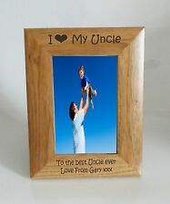 Uncle Photo Frame - I heart-Love My Uncle 4 x 6 Photo Frame - Free Engraving