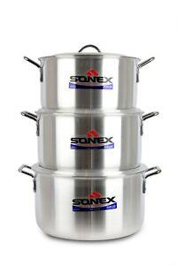 Sonex 6pc Metal Finish Casserole/Stew Pan/Pot Set 8 x 10 With Lid 36,38,41cm New