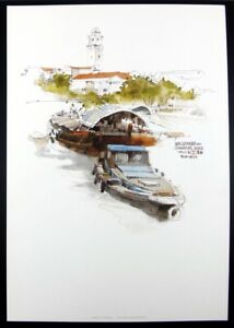 WAN SOON KAM - SINGAPORE RIVER - Pen & Wash Lithograph Print - 36cm x 25cm