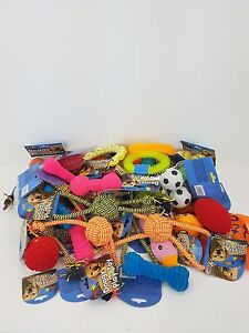 BULK PACK ASSORTED PET DOG SQUEAKY CHEW ROPE BALL RUBBER FETCH TOYS