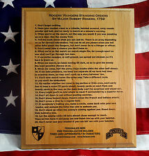 Personalized Standing Rules of Rogers' Rangers, military, Army custom gift, 75th