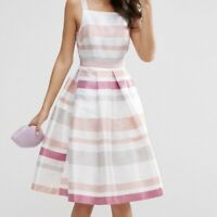 ASOS Striped Fit and Flare Midi Dress Size 0
