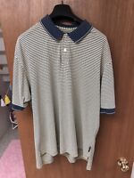 Vintage Mens Nike Golf Yellow/blue Striped Polo Large Dri-Fit