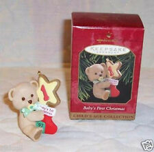 Hallmark 1997 Baby's 1st Boy/Girl Dated Christmas First Ornament Teddy Bear MINT