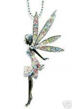 "HUGE 3"" w Swarovski Crystal fairy Tinkerbell ANGEL Tinker Bell Pendant Necklace"