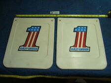 EPS14703 NOS old Harley AMF #1 red white blue mud flaps mudflaps -- WOW!