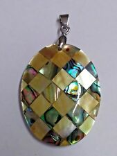NWOT Oval Mother of Pear & Abalone Shell Pendant (#PN-12)