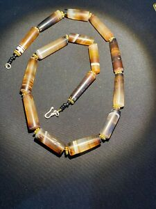 Old Beads Cambodian Antiquities Jewelry Banded Agate Mala Necklace 12th C.AD