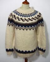 Island Norweger Strick Pullover Grösse M Herren Wolle L348