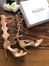 Aldo Cirella Camel Buckle Detail Back Zipper Gladiator Sandals Sz 6.5 W Box