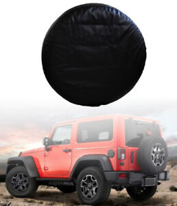 "33"" Spare Wheel Tire Storage Bag Cover Made by Heavy Duty Vinyl PU Leather BLK P"