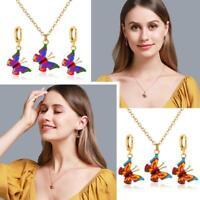 Women Girls Butterfly Pendant Necklace Earrings Hook Clavicle Chain Jewelry Set