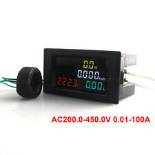 Digital LCD AC Voltmeter Ammeter Power Energy Current Kwh Meter CT 200~ 450V100A
