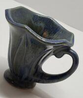 Vintage California Art Pottery KIPP 47 Blue Green Small Squash Cup Mug Signed