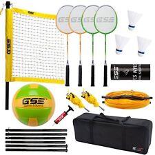 Badminton & Volleyball Combo Set W/Net, 4 Rackets/3 Shuttlecocks/Volleyball Ball