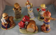 Vintage Franklin Mint 6 Pc Set Hand Painted Un Children of The World Figurines