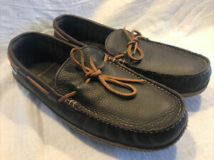 LL Bean Hand sewn Brown Leather Flannel Lined Moccasin Slippers Men's Size 13M