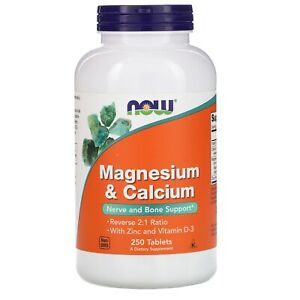 NOW FOODS Magnesium and Calcium with Zinc and Vitamin D3, 250 Tablets