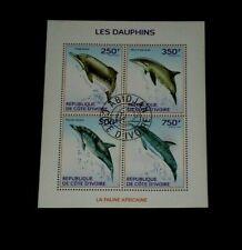 IVORY COAST, 2014, DOLPHIN, WILDLIFE, SOUVENIR SHEET/4, LOT #10, CTO, NICE LQQK