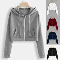 Women Loose Long Sleeve Hoodie Sweatshirt Jumper Hooded Pullover Short Crop Tops