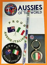 PROUD AUSSIE - ITALIAN GIFT PACK ITALY AUSTRALIAN SOUVENIR KEYRING MAGNET