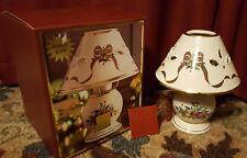 "Lenox China Holiday Tartan 10.5"" Candle Lamp Christmas Holly Fruit Design"