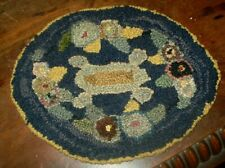Antique Victorian ? hand crafted oval doll house rug hook rug style  7.5 x 6