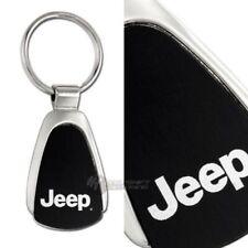 JEEP Logo Tear Drop Authentic Black Key Fob Keyring Keychain Tag Lanyard