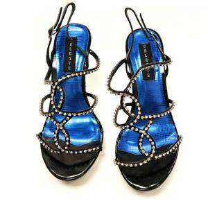 Women Black Open Toe Crystal Rhinestone High Heel Sandal Wedding Party Size 6-9