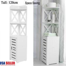 Tall White Wood Kitchen Bathroom Organizer Storage Cabinet Shelf Door Display Us