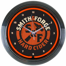 "Neonetics 15"" Smith and Forge Hard Cider Neon Clock Man Cave New Look 8Mcsmf"