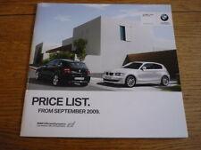 BMW 1 Series Hatch listino prezzi di vendita opuscolo settembre 2009