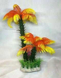"""9"""" Aquarium Artificial Plant Palm Tree Orange"""