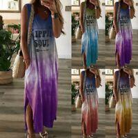 Summer Women Sleeveless Casual Tie-dye Print Dress V-neck Pocket Long Dress