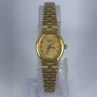 Seiko Womens 2Y01-5019 Gold Dial Gold Tone Stainless Steel Quartz Watch