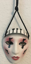 Miniature Ceramic ART Mardi Gras Mask on Silk Rope  Wear / Decor