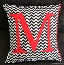 PERSONALISED BLACK WHITE & RED CHEVRON ZIG ZAG INITIAL LETTER CUSHION  COVER